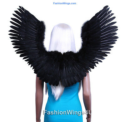 Large V shape Open Swing Black Feather Angel Wings Goth Demon Birds costume prop