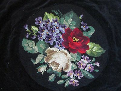 Antique Needlepoint Chair Seat Cover Violets Red Rose Flowers