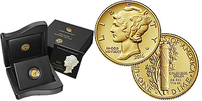 2016-W Mercury Dime Gold Centennial Commemorative in Government boxes with COA