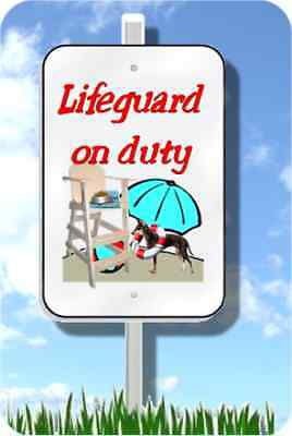"""Manchester Terrier lifeguard sign novelty 8""""x12"""" pool yard dog gotta C this"""