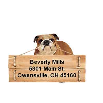 English Bulldog return address labels die cut to shape of dog and sign