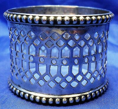 Very Early Solid Silver Fretwork Napkin Ring By William Hutton Sheffield 1857