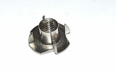 Stainless Steel T-Nut 1/4-20 x 9/16   4 Prong.  Pkg of 25  T-Nuts  Tee-Nut