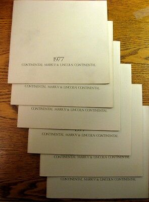 1977 Lincoln Brochure LOT, 6 pcs, Continental & Mark V