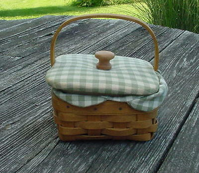 2005 Longaberger Basket With Green Checked  Cloth Lid And Liner