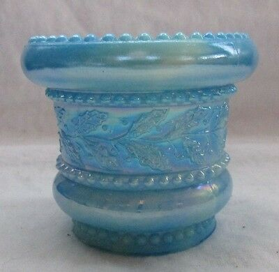 Summit Glass. Blue And White Carnival Holly And Berries Toothpick Holder