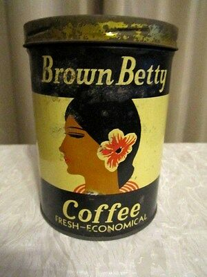 Vintage Brown Betty  Coffee Can Tin 1 LB w/Lid