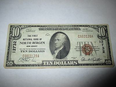 $10 1929 North Bergen New Jersey NJ National Currency Bank Note Bill #12732 VF!