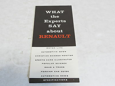 * Vintage What The Experts Say About Renault Automobile Brochure *