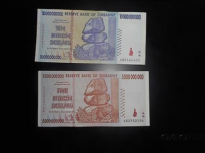 ZIMBABWE 2 pcs paper money 2008, circulated