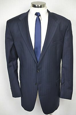(50L) Hickey Freeman Men's Navy Blue Pinstripe Wool Blazer Sport Coat Jacket