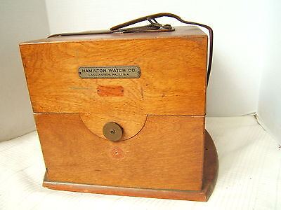 Hamilton Ships Chronometer Wood Box With Leather Strap Gc
