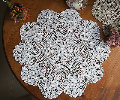 Cotton Hand Crochet Lace Doily Doilies Placemat Tablecloth Round 70CM White FP02