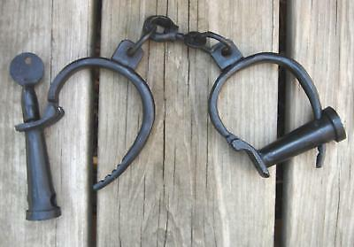 Antique Rep. cast iron working PIRATE SHIP POLICE HANDCUFFS brig shackles w keys
