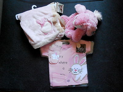 Lot of Baby Pink Rabbit Blankets & Beyond Plush Toy Mud Pie 3pc Outfit 0-6 Month