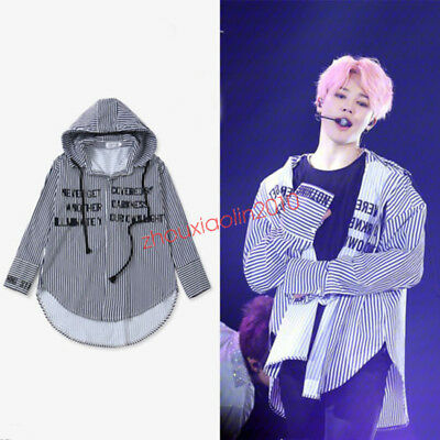 KPOP BTS JIMIN Striped Shirt Bangtan Wings Fansigning Embroidery Blouse Hooded