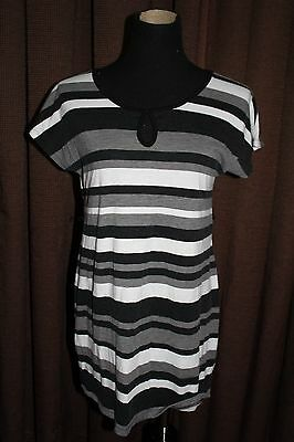 Two Hearts Maternity Shirt~  Maternity~ Size M~ Summer Black Cream Gray Stripe