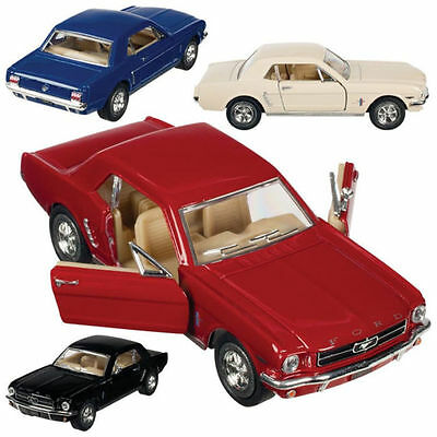 Diecast Model 1964 FORD MUSTANG Sports Car Cars Toy Toys Red white blue 1:38