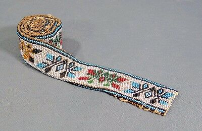 Antique Ottoman Turkish Hand-Embroidered Beaded Glass Beads Folk Costume Belt