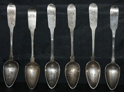 Lot of 6 William Walker Philadelphia 1793 Colonial Coin Silver Spoons 5 3/4""