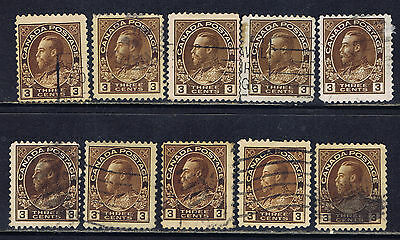 Canada #108(2) 1918 3 cent brown King George V 10 Used
