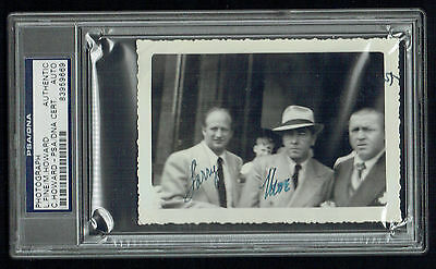 3 Stooges signed autograph 3x4.5 Photo Larry Fine, Mo & Curly Howard PSA Slabbed