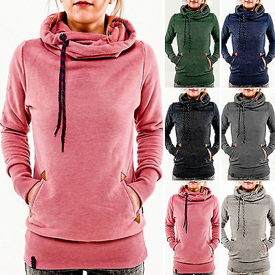 Women's Pocket Hooded Sweatshirt Hoody Hoodie Pullover Jumper Sweater Shirt Tops