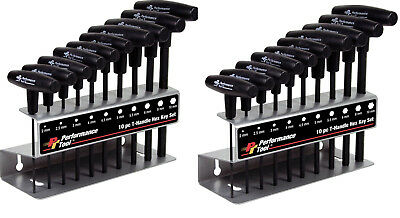 2PAK Performance Tool Metric T-Handle Hex Sets 10-Pc Allen Wrench w/Rack