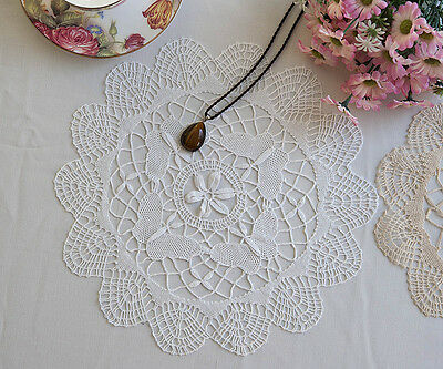 Vintage Style Exquisite Butterfly Hand Bobbin Lace Cotton Doily Round 28CM White