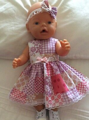 "Doll Clothes to fit 17"" Baby Born doll ~ Dress & hband  ~ Pink Mauve Patchwork"