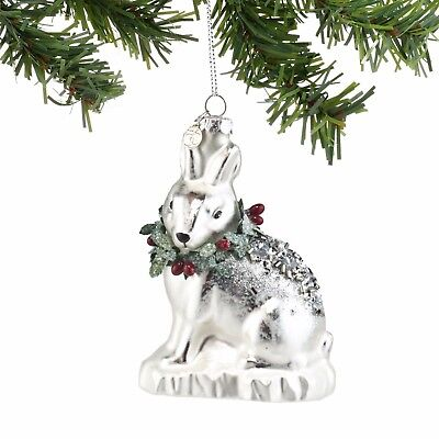 DEPARTMENT DEPT 56 Christmas Hanging Ornament Decor SILVER GLASS BUNNY RABBIT