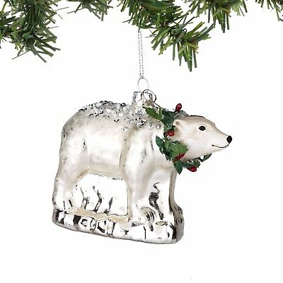New DEPARTMENT DEPT 56 Christmas Hanging Ornament Decor SILVER GLASS POLAR BEAR