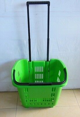 1X Plastic Green Rolling Shopping Baskets with 2 wheels