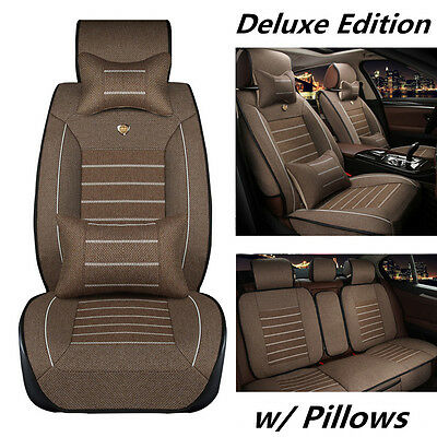Deluxe Edition Coffee Linen Breathable 5-Seats Car Seat Cover Cushion w/Pillows