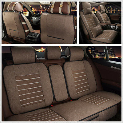 Comfortable Linen Fabric Car Front Rear Seat Cover Protector Mat w/ Pillows Set