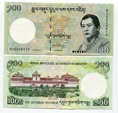 Bhutan 100 Ngultrum 2015 P 32 New Date Unc Lot 5 Pcs