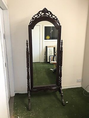 Mahogany Cheval Mirror With Hand Carved Details