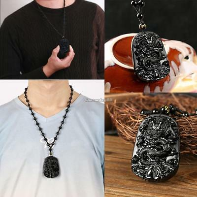 Unique Black Obsidian Hand Carved Dragon Lucky Blessing Beads Pendant Necklace