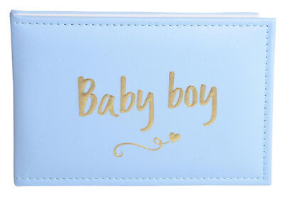 Leather Look ~ Baby Boy ~ Script Photo Album ~ Keepsake Baby Boy Gift