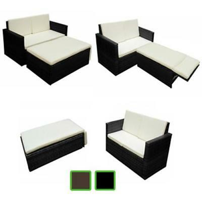 Poly Rattan Garden Furniture Set w/ Light Beige Pillow Patio Lounge Brown/Black