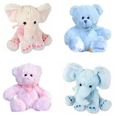 "11"" Mini Plush Super Soft Teddy Bear Elephant Cuddly Toy Baby Gift with Ribbon"