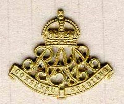 Military Royal Australian  Artillery R.a.a .gilded  Jacket Collar Badge Ww1