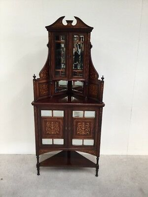 Antique Victorian Inlaid Rosewood Corner Cabinet Superb Quality And Style