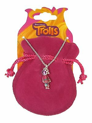 Official Licensed Trolls Poppy Silver Tone Charm NECKLACE With Bag