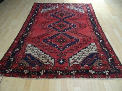 PERSIAN CARPET RUG HAND MADE Antique WOOL traditional oriental 6ft 7 x 5ft c1900