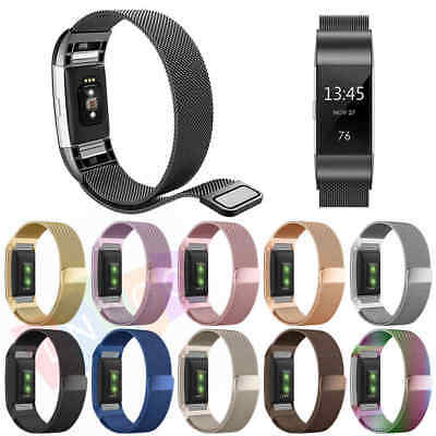 Milanese Loop Stainless Steel Metal Bracelet Strap Band For  Fitbit Charge 2 HR