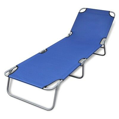 S# Blue Outdoor Foldable Sun Lounger Bed Reclining Beach Chair Fabric Adjustable