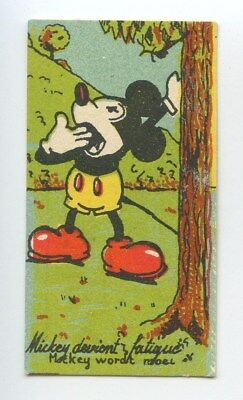 Disney Small Trade Card Mickey Mouse Sleepy Chocolaterie Rubis original c1930s
