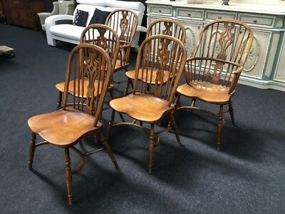 Set Of 6 Windsor Farmhouse Dining Chairs With 2 Carvers Crinoline Stretcher Base
