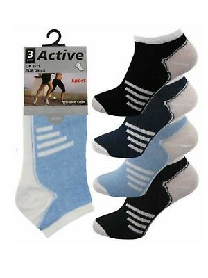 3 Mens Assorted Stripe Active Sport Cotton Rich Trainer Liner Socks UK 6-11